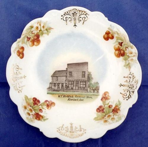 souvenir dish illustrating a pioneer store