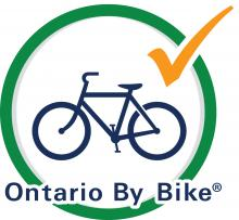 logo showing bike in green circle - Ontario By Bike logo