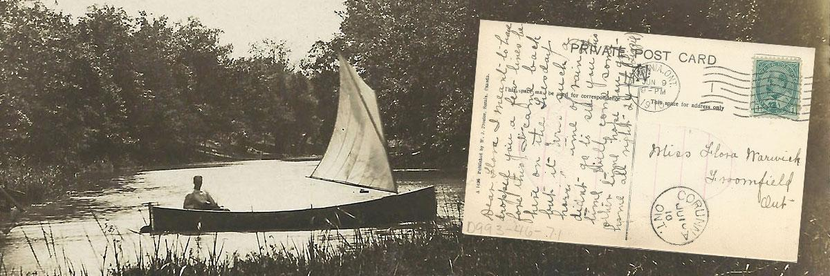 man sailing a canoe and an inset image of a postcard